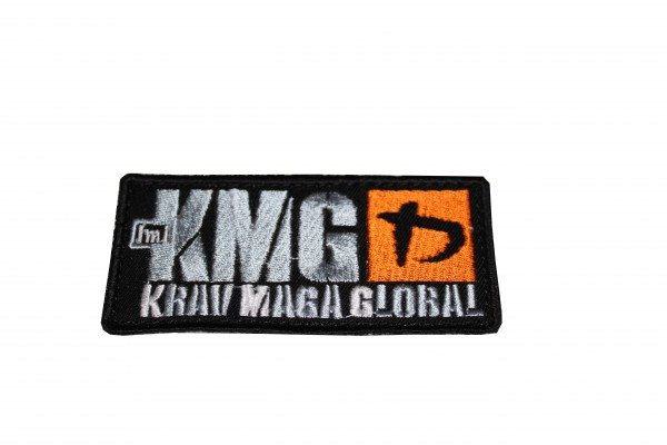 Krav Maga Global Patch Stoff gestickt Logo Silber / Orange